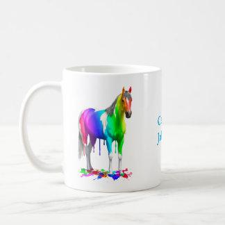 Buntes Regenbogen-Bratenfett-Farben-Pferd Kaffeetasse