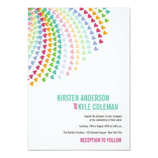 Buntes Regenbogen-Herz besprüht Hochzeit einladen 12,7 X 17,8 Cm Einladungskarte