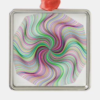 Buntes Regenbogen-Prismastrudelrad Silbernes Ornament