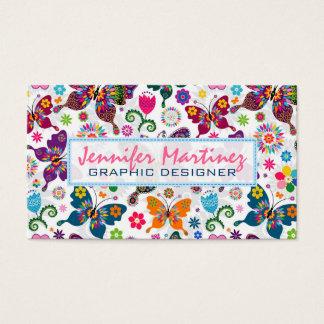 Buntes Retro Schmetterlings-u. Blumen-Muster 2 Visitenkarten