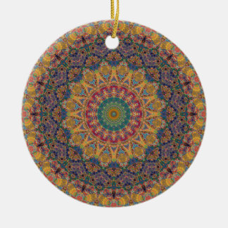 Buntes Rot, Gold und blaues Mandala-Kaleidoskop Keramik Ornament