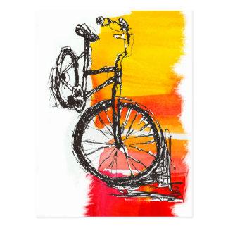 Buntes rotes Fahrrad Postkarte