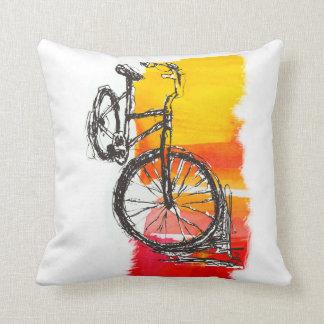 Buntes rotes Fahrrad-Zeichnen Kissen