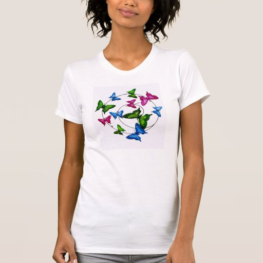Buntes Schmetterlinge Frau-Fein-Jersey-T-Shirt T-Shirt