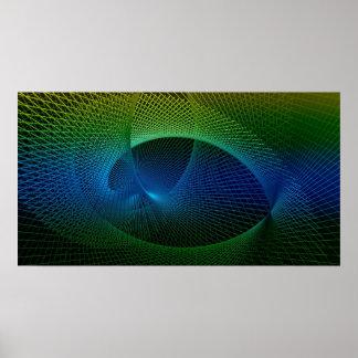 Buntes schwarzes grün-blaues Fraktal-gewundene Poster