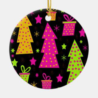 buntes, spielerisches Weihnachten Rundes Keramik Ornament