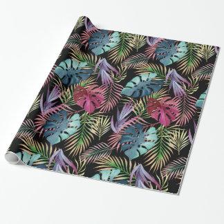 Buntes tropisches Laub-botanisches Muster Geschenkpapierrolle