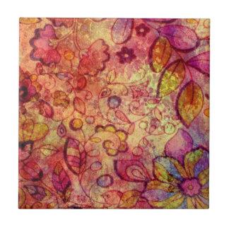 Buntes Vintages Blumenmuster Kleine Quadratische Fliese