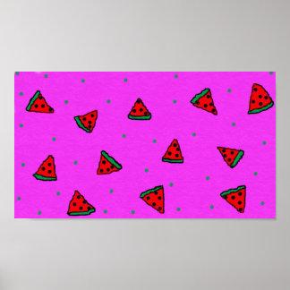 buntes Wassermelonerosaplakat Poster
