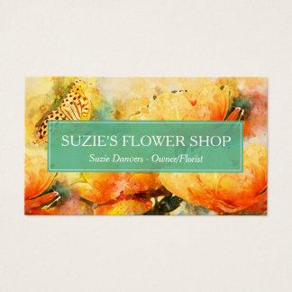 Buntes Watercolor-Blumen-Floristen-Geschäft Visitenkarte