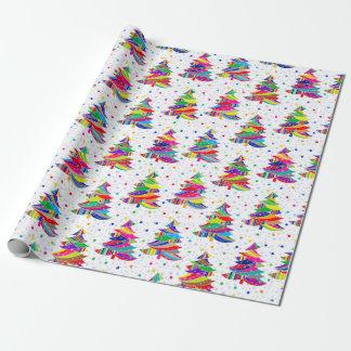 Buntes Weihnachtsbaum-Schneeflocke-Packpapier Geschenkpapier