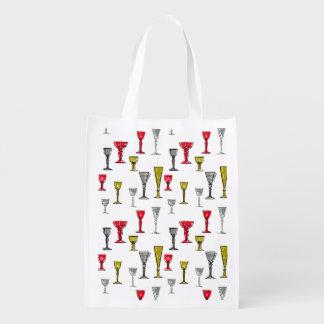 Buntes Wein-Glas-Muster Einkaufstasche