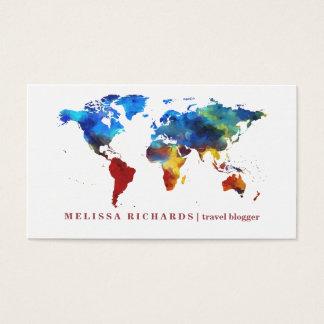 Buntes Weltkarte-Reise-Blog Visitenkarte