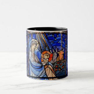 Buntglas-Art-Geburt Christi Zweifarbige Tasse