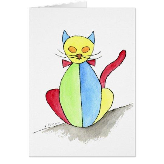 Buntglas-Katze Grußkarte