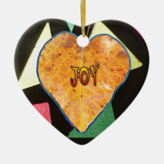 Buntglas-Muster FREUDE Blatt-Herz-Verzierung Keramik Ornament
