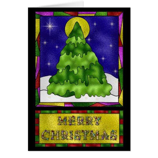 Buntglas-Weihnachtsbaum Grußkarte