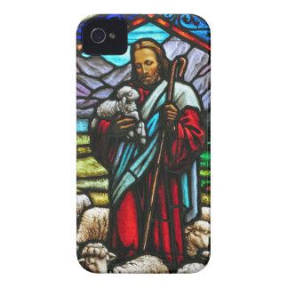 Buntglasbild von Jesus und von Lämmern iPhone 4 Cover