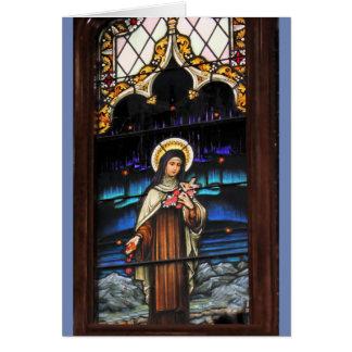 Buntglasblick katholisches Heiliges Therese Grußkarte