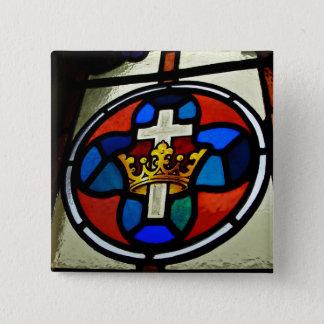 Buntglasdetail Quadratischer Button 5,1 Cm