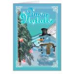 Buon Natale italienischer Karten-Schneemann froher