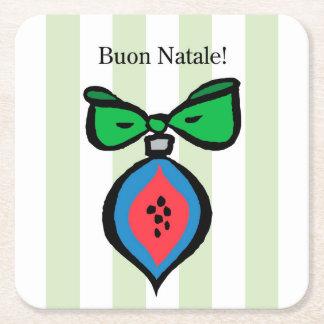 Buon Natale rotes/blaues Kartonuntersetzer Quadrat