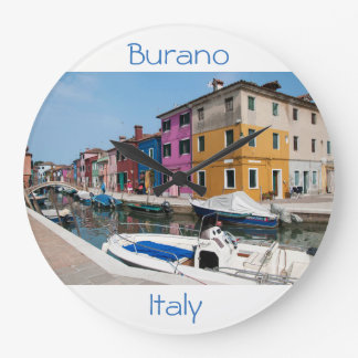 Burano färbte Häuser Große Wanduhr