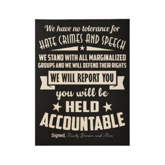 Bürger gegen Hass-Verbrechen-Plakat Holzposter