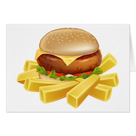 Burger und Chips oder Pommes-Frites Grußkarte