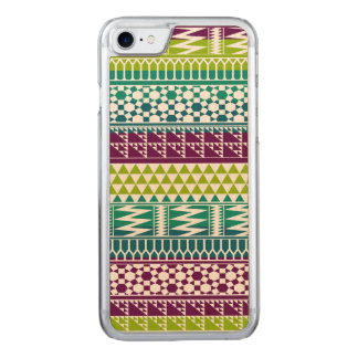 Burgunder-Aqua-geometrisches aztekisches Stammes- Carved iPhone 8/7 Hülle