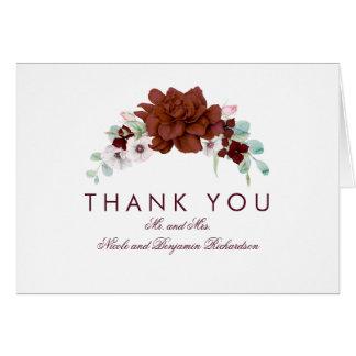 Burgunder-Blumen-Blumenstrauß-Fall danken Ihnen Karte