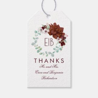 Burgunder-Blumen-elegante Hochzeit Geschenkanhänger