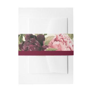 Burgunder-Blumenstrauß-Bauch-Bänder Einladungsbanderole