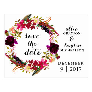 Burgunder BlumenWatercolor Save the Date Postkarte