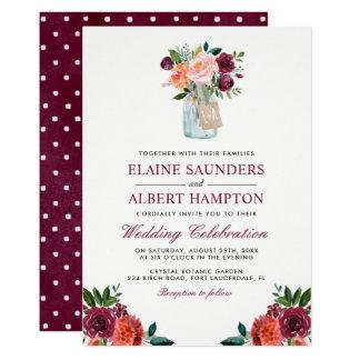 Burgunder erröten rosa Blumen-Maurer-Glas-Hochzeit Karte