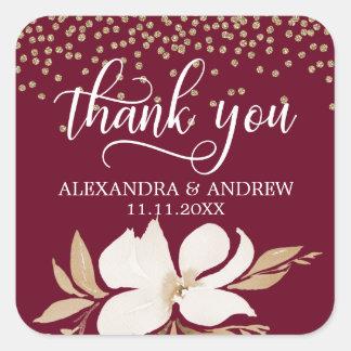Burgunder-GoldAquarell-Blumenhochzeit danken Ihnen Quadratischer Aufkleber