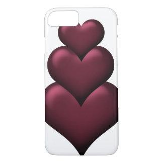 Burgunder-Herz-romantisches Weiß iPhone 8/7 Hülle