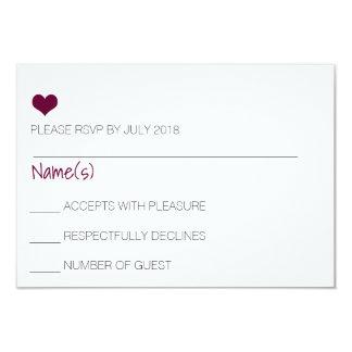 Burgunder-Herz UAWG Karte 8,9 X 12,7 Cm Einladungskarte