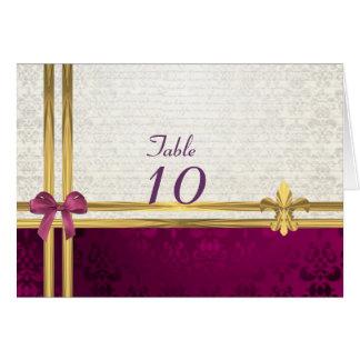 Burgunder- u. Cremedamast-Tischnummer Karte