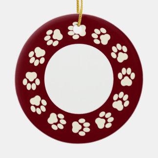 Burgunder-und-Ecru Tatzen-Druck-Foto-Verzierung Rundes Keramik Ornament