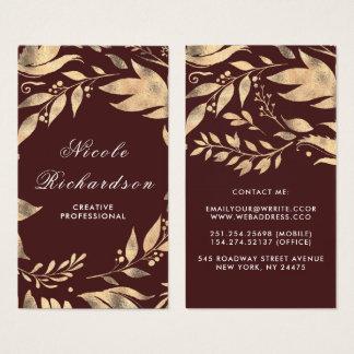 Burgunder- und GoldBlätter windt modernen Chic Visitenkarte