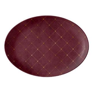 Burgunder- und Goldentwürfe Porzellan Servierplatte