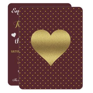 Burgunder- und Goldherz-Polka-Punkt-Party Karte