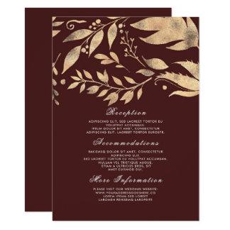 Burgunder- und GoldHochzeit im 11,4 X 15,9 Cm Einladungskarte
