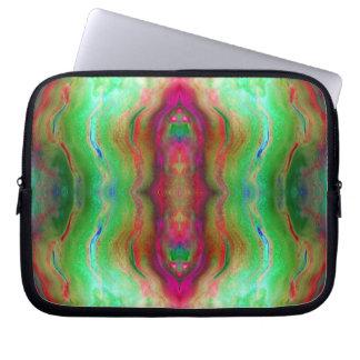 Burgunder und Grün abstrakt Laptop Sleeve