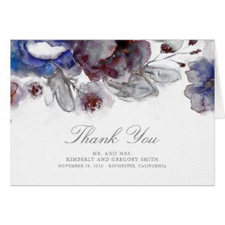 Burgunder- und Marine-Blumenhochzeit danken Ihnen Karte