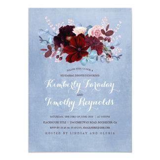 Burgunder und staubiges blaues 12,7 x 17,8 cm einladungskarte