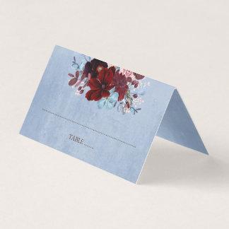 Burgunder und staubiges blaues BlumenAquarell Platzkarte