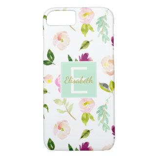 Burgunder-Wein und rosa Aquarell-Blumenmonogramm iPhone 8/7 Hülle