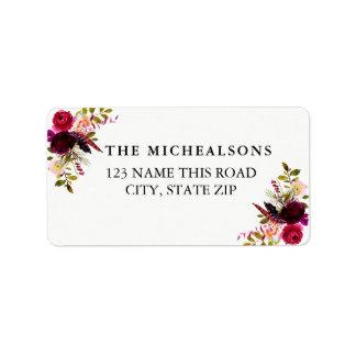 BurgunderblumenAquarell-Adressen-Etiketten Adressetiketten